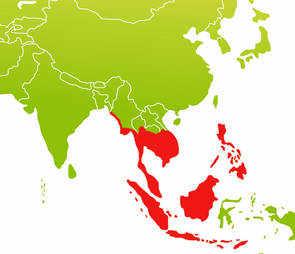 Distribution area of long-tailed macaques in Southeast Asia. Image: Sylvia Siersleben