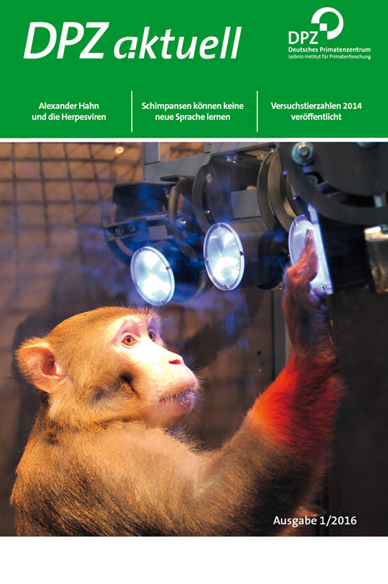 The cover of DPZ aktuell shows a rhesus monkey completing a task in a training cage. The Photo won the DPZ photo contest 2015. Photographer: Michael Berger.